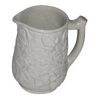 Wild Roses White Majolica Branch Handle Pitcher, Cracked