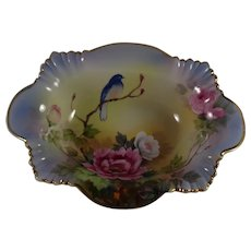 Beautiful Bluebird and Roses Bowl Hand Painted, Japan