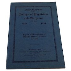 College of Physicians & Surgeons Announcement, July 1929