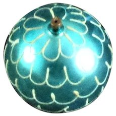 Teal Blown Glass Hand Decorated Christmas Tree Decoration 4""