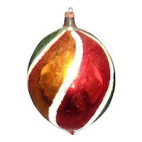 """Vintage 4 !/2"""" Hand Painted Christmas Tree Decoration Blown Glass"""