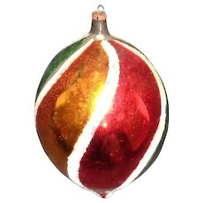 "Vintage 4 !/2"" Hand Painted Christmas Tree Decoration Blown Glass"