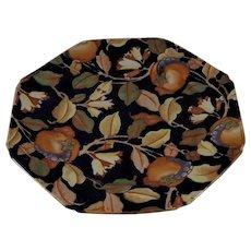 "8 1/2"" Arras Bursley Ware Plate Autumn Leaves Over Deep Cobalt"