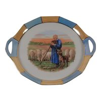 "Vintage 8"" Handled Plate Dog, Sheep, Man Praying Made in Germany"