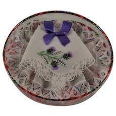 Scotch Thistle Hankie Mint in Box Hand Stitched