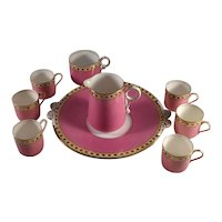 Partial Pink Cocoa Set Beige & Gold Trim Cups, Small Pitcher, Under Plate/Server