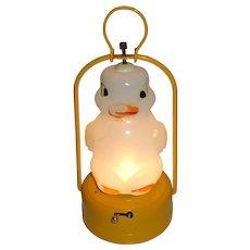 AAA Milk Glass Duck Tin Lantern Made in Japan Working