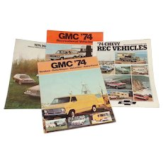 1974 GMC/CHEV 4 Promotional Pamphlets Rec, Vans, Wagons