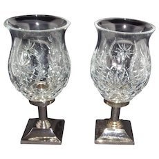 Pair of Times Square 2001 Waterford Crystal Hurricane Lamps