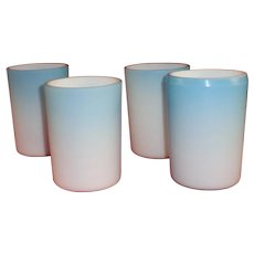 4 Victorian Blue Cased Satin Glass Tumblers