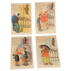 4 Vintage Humorous Post Cards French/English Cherub/Fountain Boy