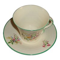 Made in England Signed Van Brunne, Cup & Saucer Foxglove Transfer