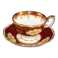Crown Staffordshire Cup & Saucer Burgundy, Gold, White, Cream