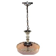 Vintage Pendent Ceiling Light Pink Shade & Fixture