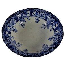 "10"" S. W. Dean Blossom Flow Blue Bowl Burslem, England"
