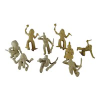 Group of 9 Vintage Plastic Toy Indians Various Poses