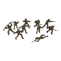 Group of 10 Vintage Olive Green Plastic Army Men