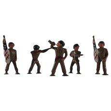 Group of 5 Painted Metal Army Men