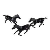 3 Hard Plastic Toy Horses Dark Grey, Color Swirls