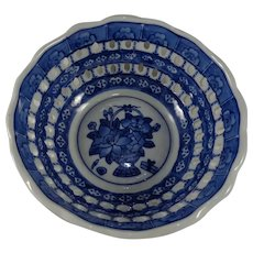 """Reticulated Chelsea Art Pottery Bowl 8"""" Blue & White"""