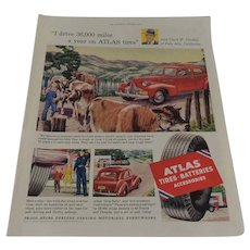 Atlas Tire & Battery  Full Page Ad 1952