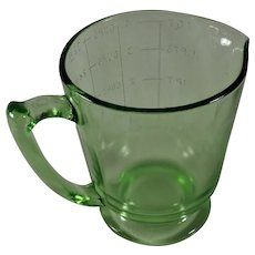1qt, 4 Cup Green Glass Handled Footed Measure