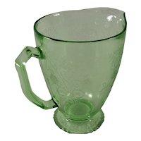 Hazel Atlas Florentine #1 Green Depression Glass Pitcher