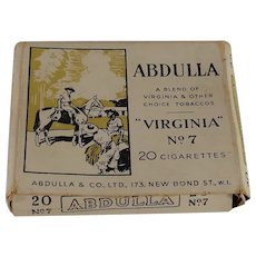 Abdulla Virginia No.7 Cigarettes H. M. Ships Only