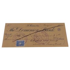 1952 Cancelled Check The Dominion Bank St. Thomas Ont.