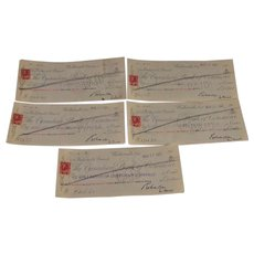 5 Collector of Customs Walkerville, Ont. Cancelled Checks 1921