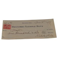 1899 Davenport National Bank Pay to Draft Cancelled Check