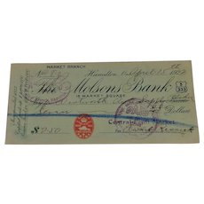 The Molsons Bank April 15th 1922 Cancelled Check