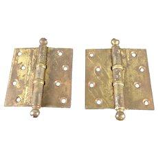 Pair Vintage Brass Stanley Door Hinges 4 x 4 inch