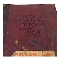 Landis No. 12 Shoe Stitcher Model E Manual 1946
