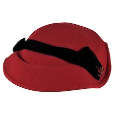 Red Hand Made/Formed Hat with Beading