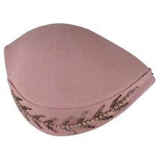 Pink Hand Formed/Hand Made Hat with Beading