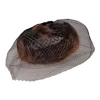 Vintage Faux Fur and Feather Hat Hand Made with Netting