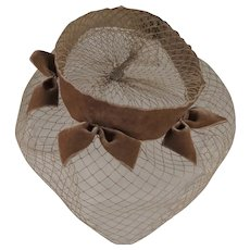 Hand Made Vintage Netting Hat with Bows
