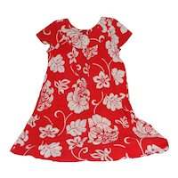 Made in Hawaii Dress Bright White Floral over Red