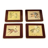 Set of 4 Vintage Lady Clare  Ming Polo Coasters