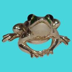 Vintage Silver & Green Enamel Frog Italy 925