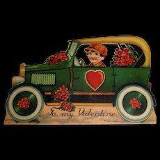 German Die Cut Stand-Up Valentine Boy in Car