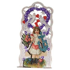 German Made Die Cut Pop-Up Valentine with Little Girl, Flowers, Anchor, and Birds