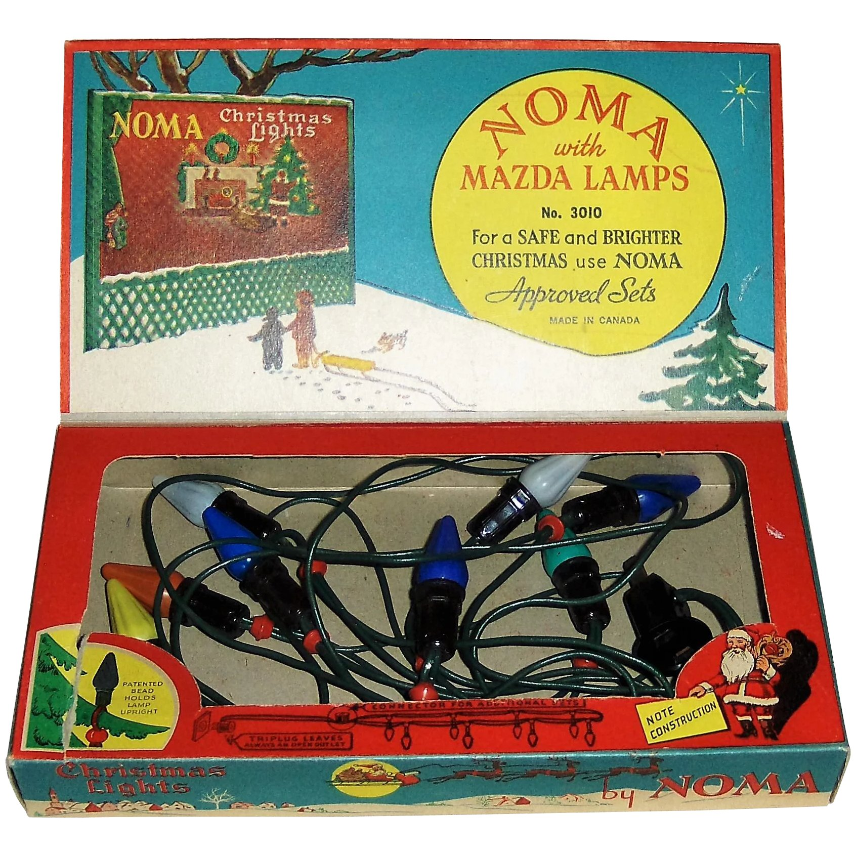 8 Bulb Christmas Lights by Noma with box SOLD | Ruby Lane