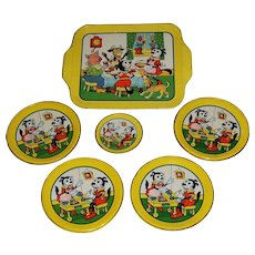 Krazy Kat Tin Toy Dishes and Tray