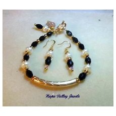 Black Beads with Pearls Bracelet and earring set
