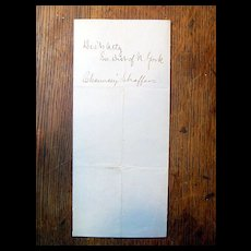 Antique Letter to Abraham Lincoln from John Slingerland