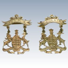 A Pair of Antique 14 K Gold German Wurttemberg Heraldic Articulated Brooches