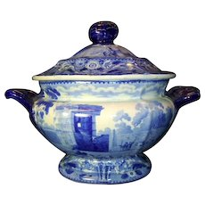 Antique English Blue & White Staffordshire Small Tureen