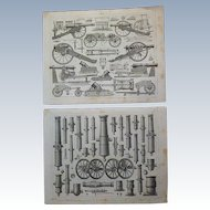 Antique Pair of Original Military Engravings of Cannon's from Heck's 1851 Encyclopedia
